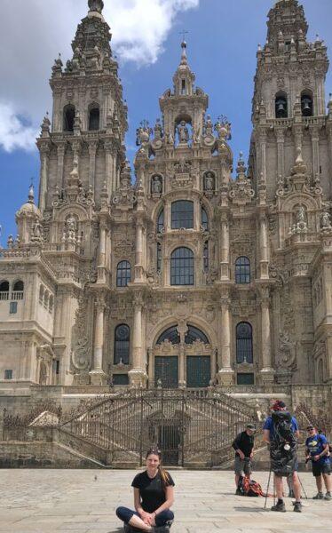 Tina at cathedral, Santiago de Compostela, Camino Portugues