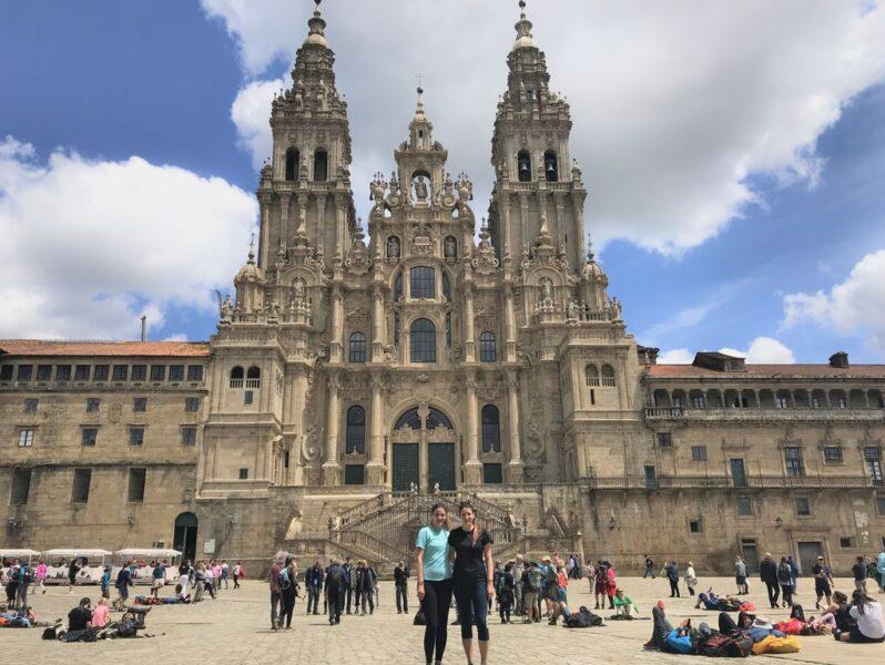 Tina and Andrea at cathedral, Santiago de Compostela, Camino Portugues